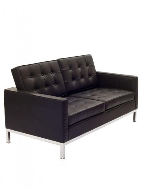 Bateman Black Leather Loveseat 2 461x614