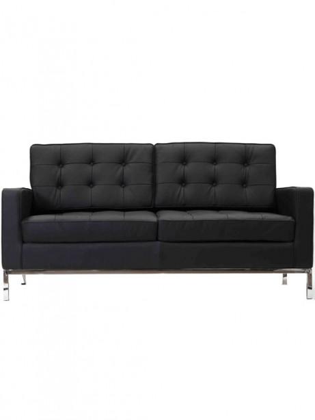 Bateman Black Leather Loveseat 461x614