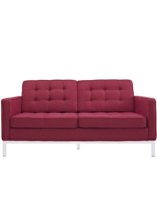 Bateman Red Wool Love Seat
