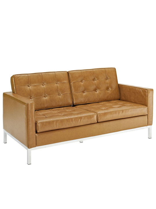 Bateman Tan Leather Loveseat 2