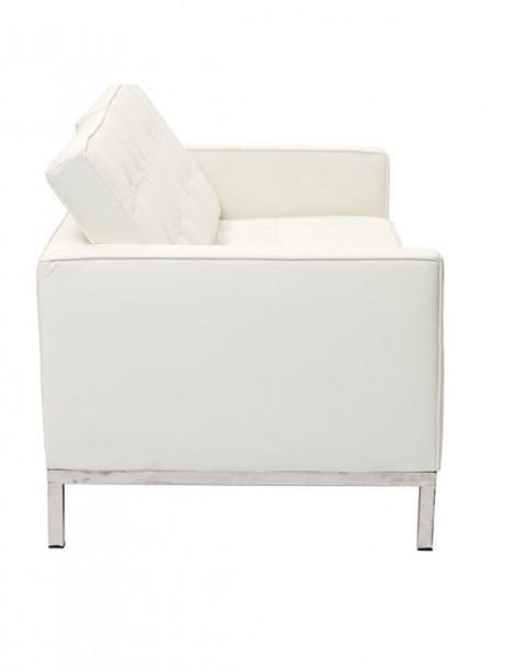 Bateman White Leather Loveseat 3 461x614