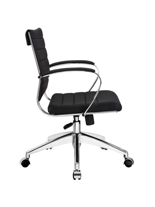 Black Leather Instant Operator Low Back Office Chair 2