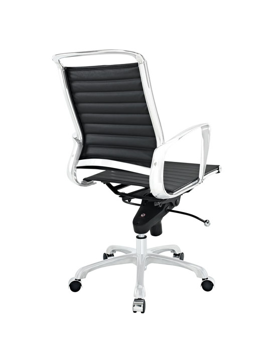 Black Leather Instant Planner Low Back Office Chair 3