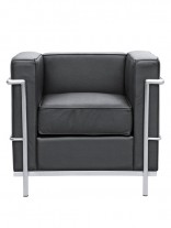 Black Simple Medium Leather Armchair 156x207