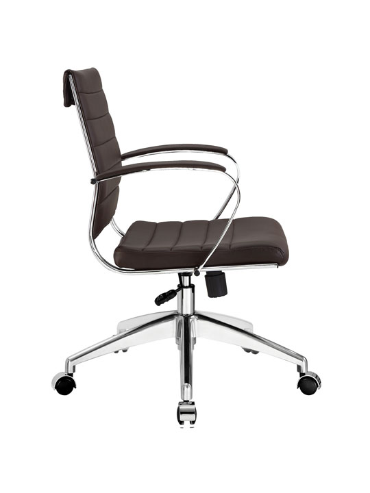 Brown Leather Instant Operator Low Back Office Chair 2