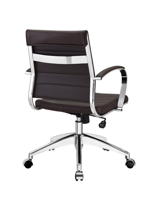 Brown Leather Instant Operator Low Back Office Chair 3