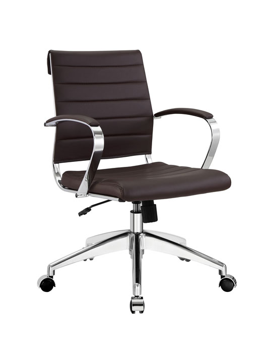 Brown Leather Instant Operator Low Back Office Chair