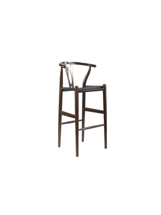 Hemp Barstool Dark Brown Black Seating
