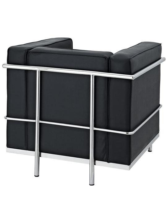 Simple Medium Leather Armchair Black 3