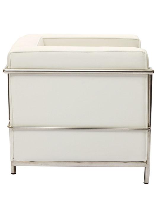Simple Medium Leather Armchair White 3