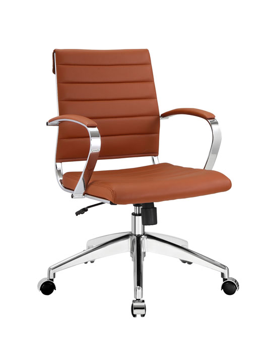 Tan Leather Instant Operator Low Back Office Chair