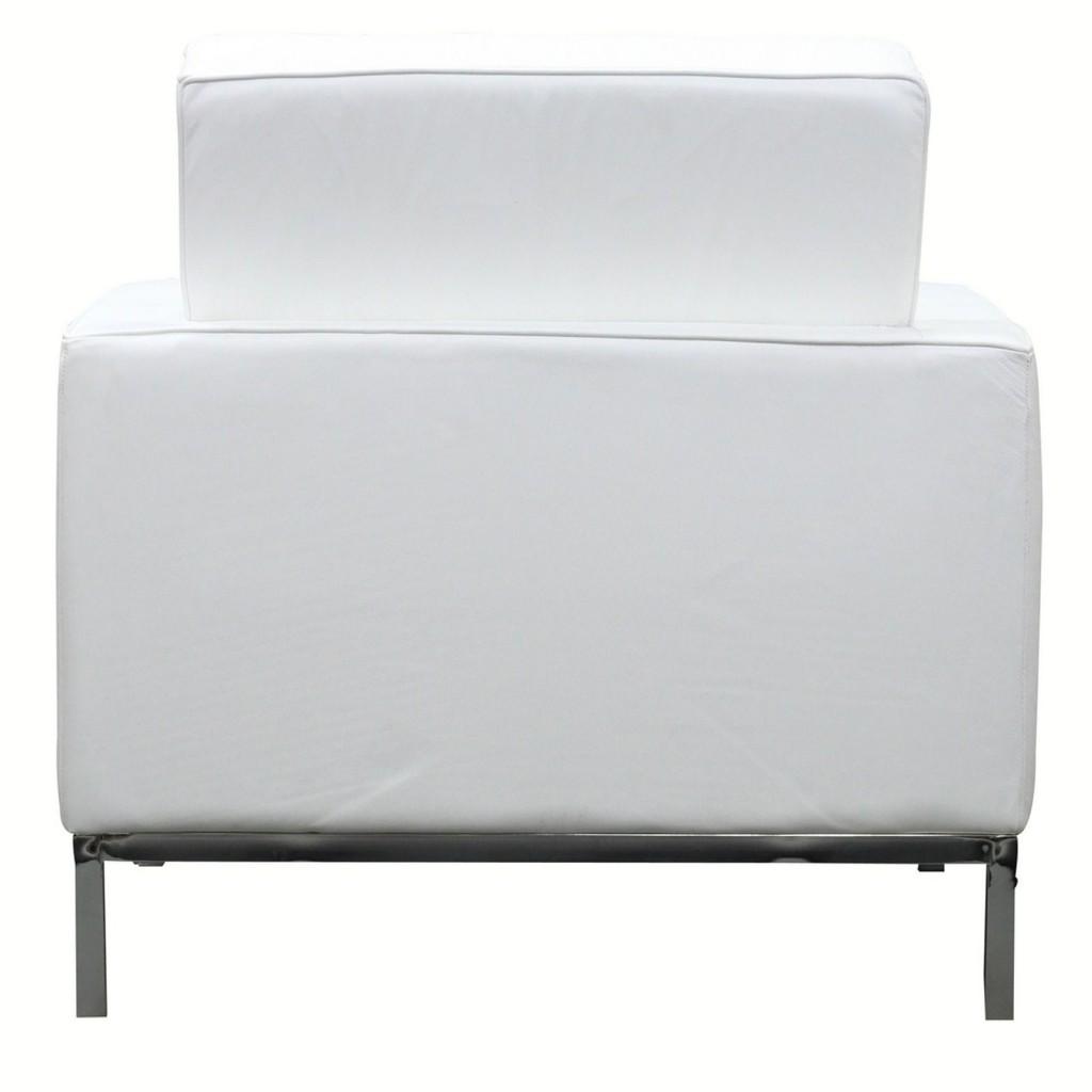 White Leather Bateman Sofa Armchair 2