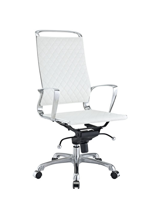 White Leather Coco High Back Office Chair