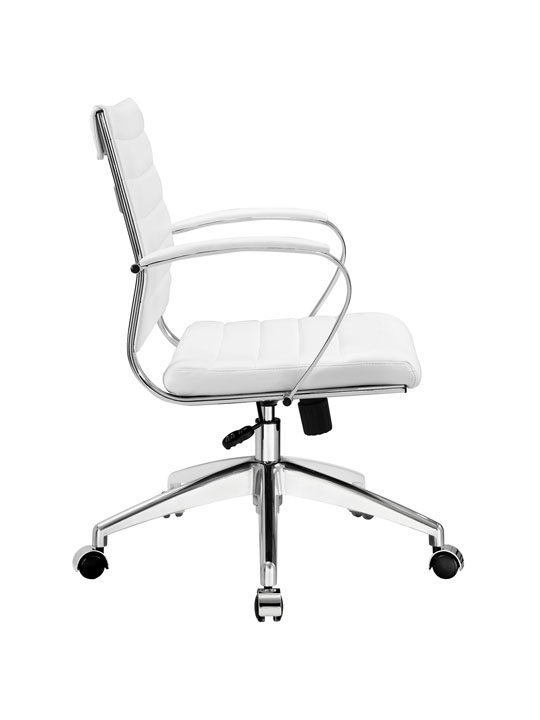 White Leather Instant Operator Low Back Office Chair 2