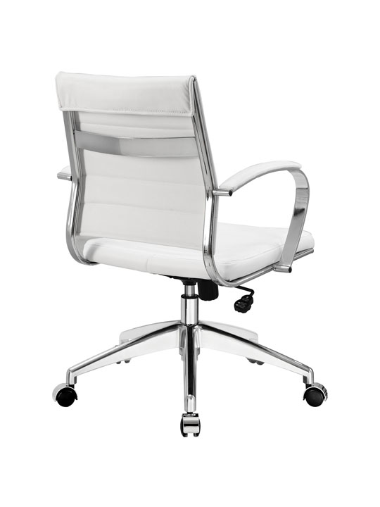 White Leather Instant Operator Low Back Office Chair 3