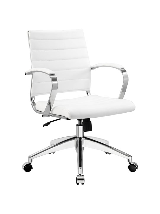 White Leather Instant Operator Low Back Office Chair