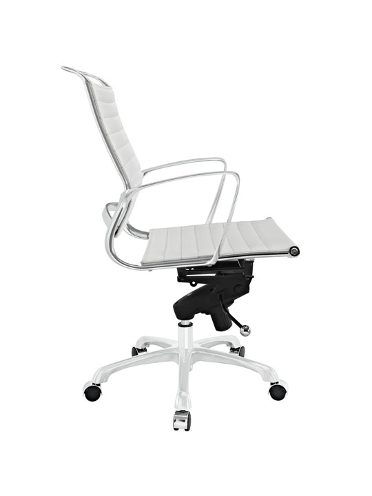 White Leather Instant Planner Low Back Office Chair 2