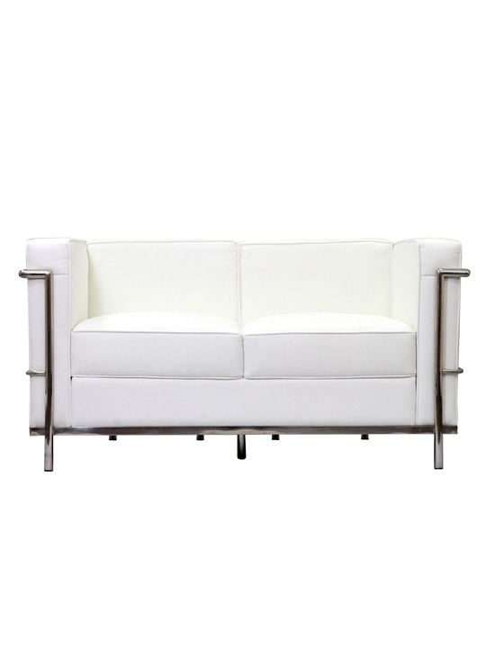 White Simple Medium Leather Loveseat