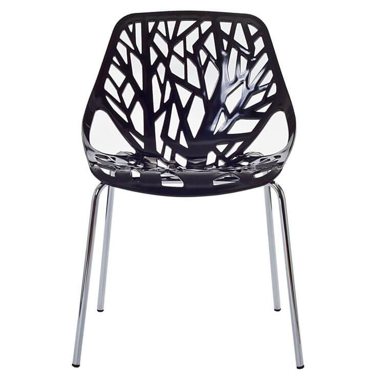 black set of plastic chairs