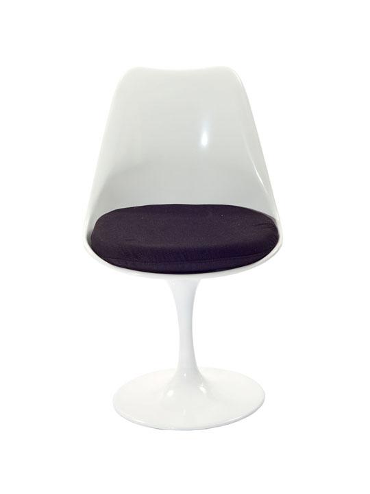 Astro Chair White Shell Black Cushion