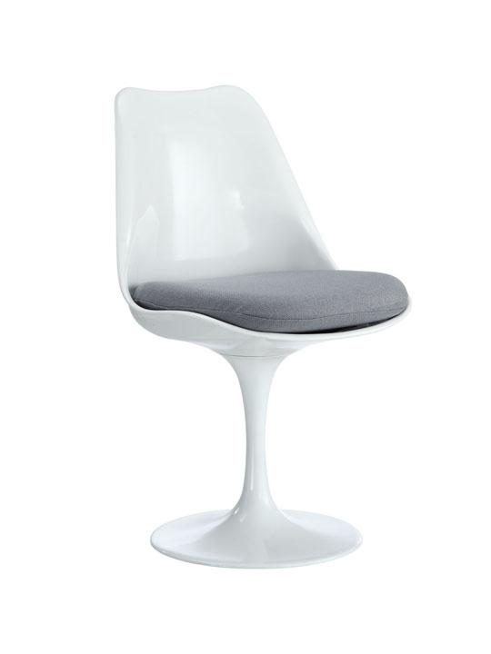 Astro Chair White Shell Gray Cushion
