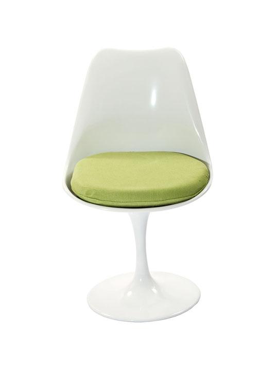 Astro Chair White Shell Green Cushion