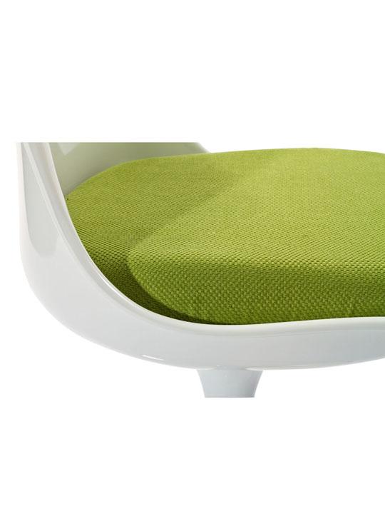 Astro Chair White Shell Green Cushion 4