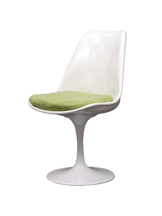 Astro Chair White Shell Green Cushion 5