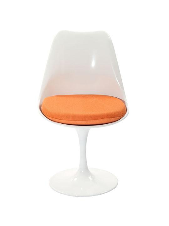 Astro Chair White Shell Orange Cushion