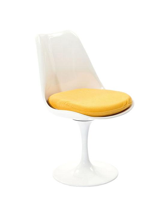 Astro Chair White Shell Yellow Cushion 2