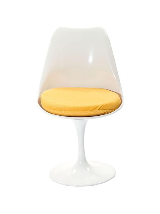 Astro Chair White Shell Yellow Cushion