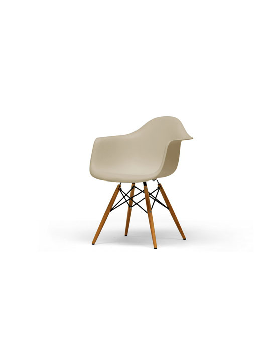 Beige Wood Base Armchair