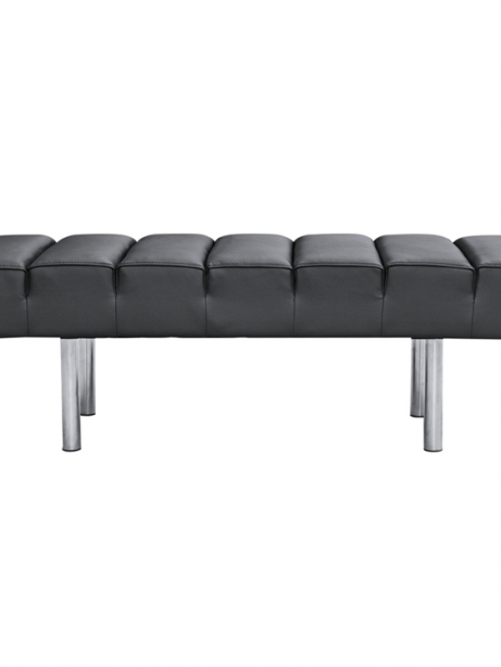 Black Leather 2 Seater Paragon Bench 461x614