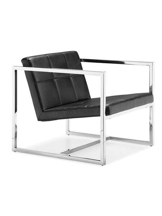 Black Leather Luxe Lounge Chair