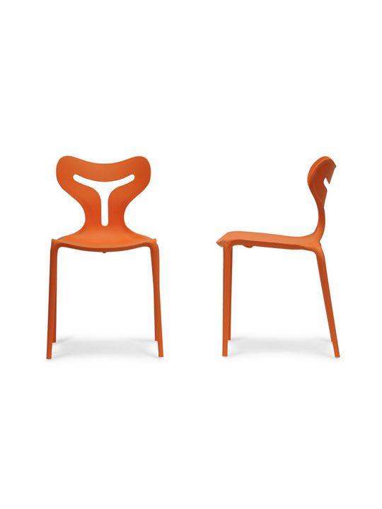 Orange Plastic Y Chair 2