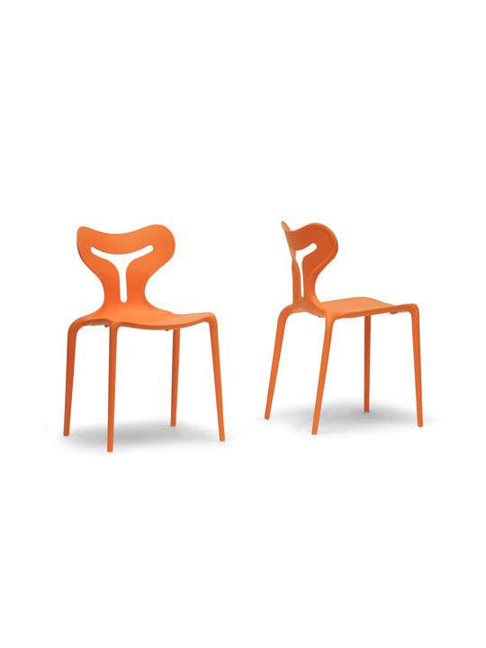 Orange Plastic Y Chair 3