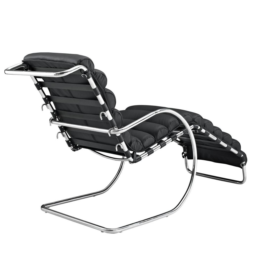 Plush Chaise Lounge Chair Black 3