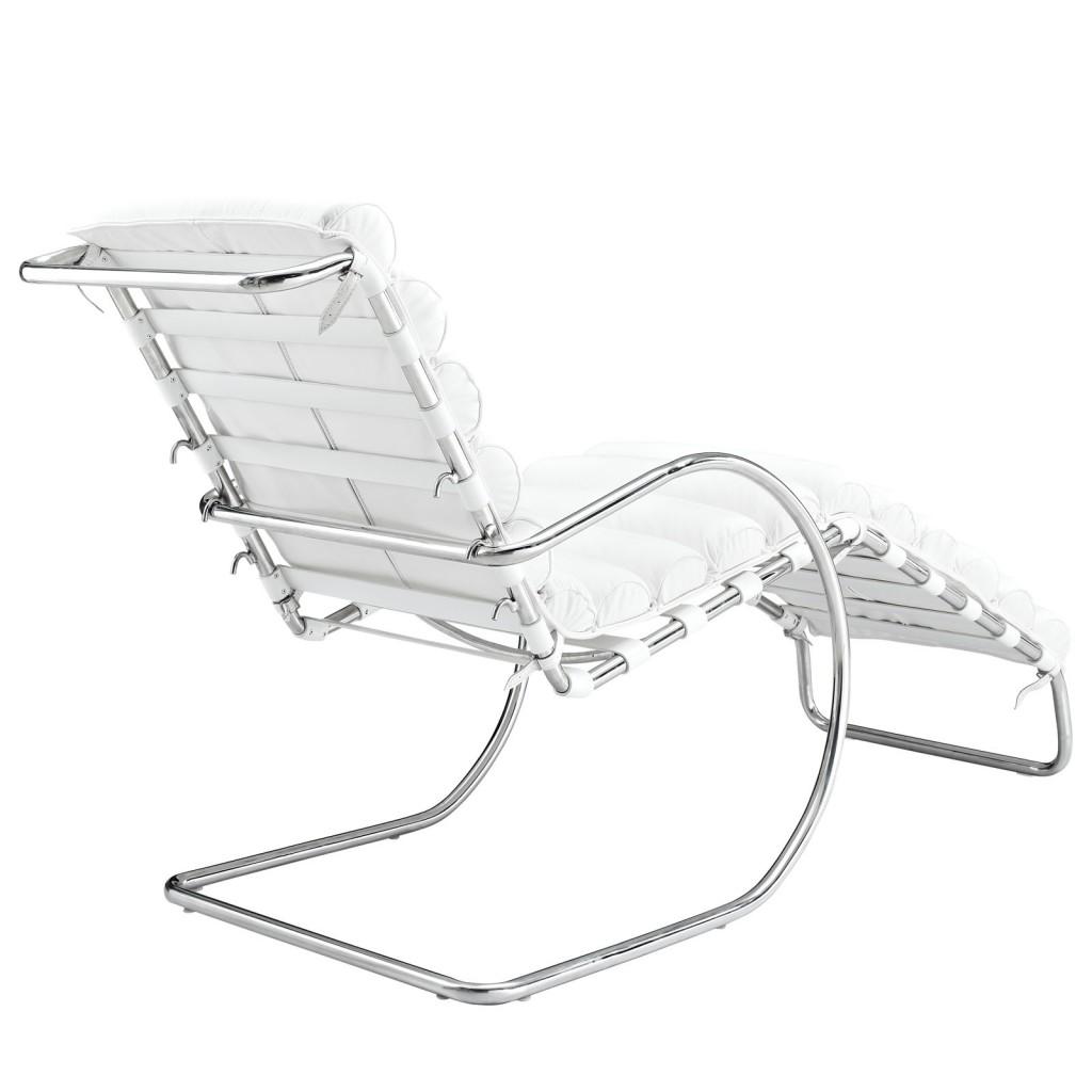 Plush Chaise Lounge Chair White 2