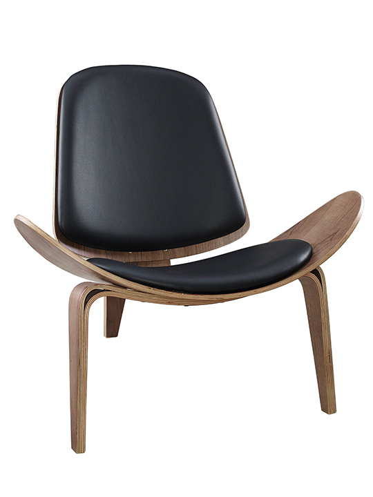 SLS Chair Walnut Wood Black Leather