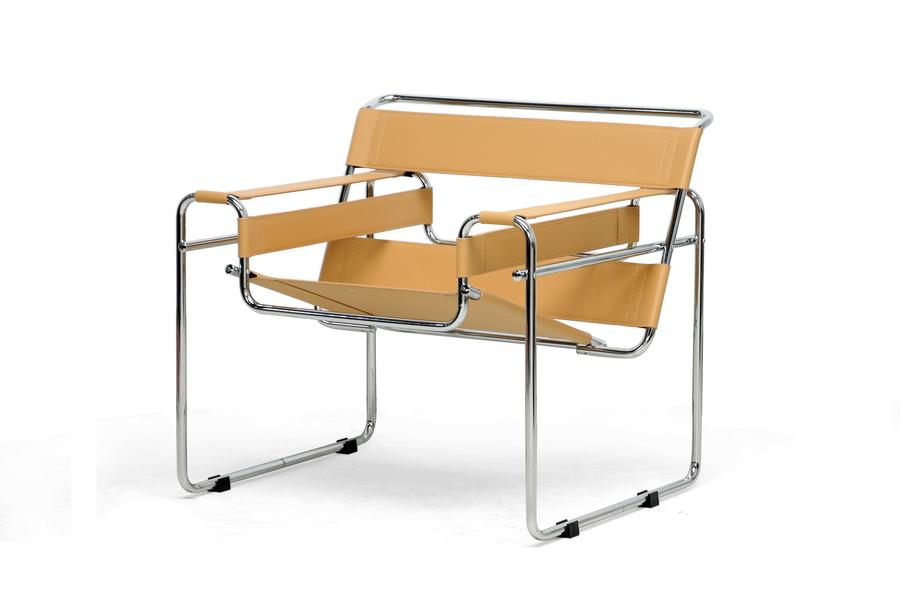 Merveilleux Tan Leather Strap Chair 1