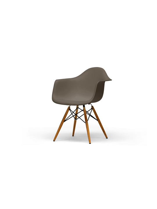 Taupe Wood Base Armchair