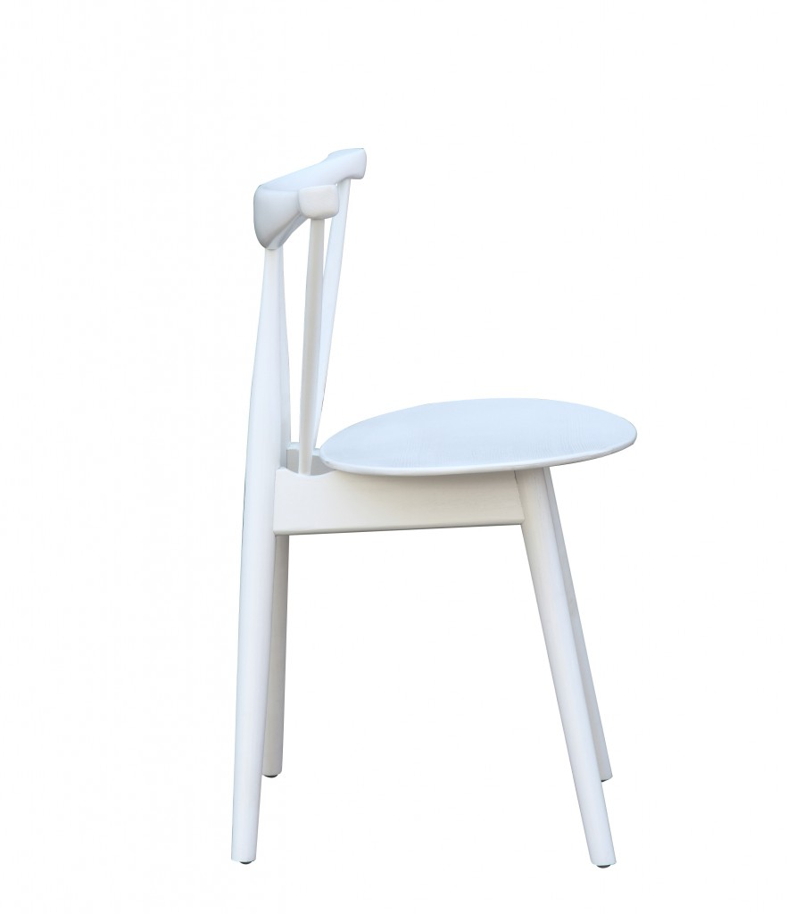 Triangle Chair White Wood 3