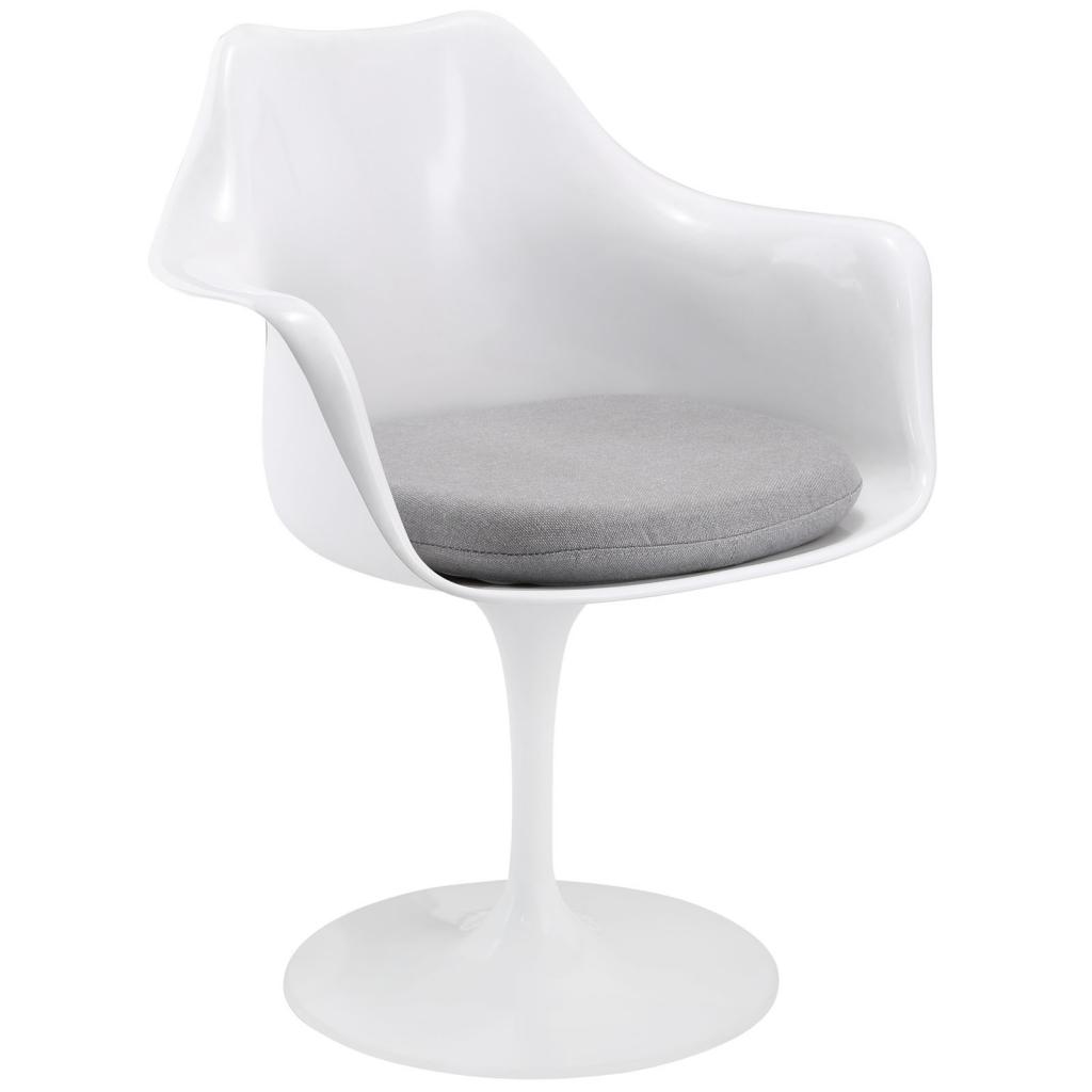 White Astro Armchair Gray Cushion