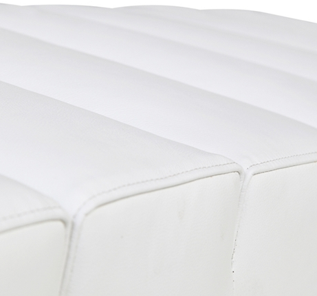 White Leather 2 Seater Paragon Bench 461x431