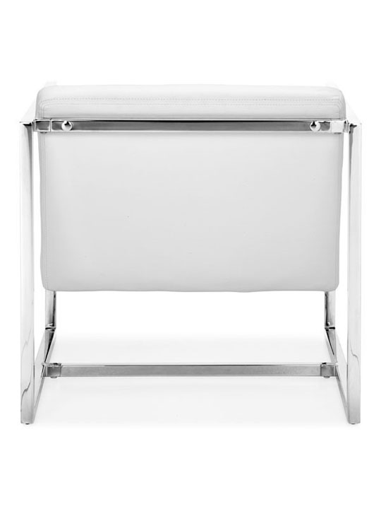 White Leather Luxe Lounge Chair 2