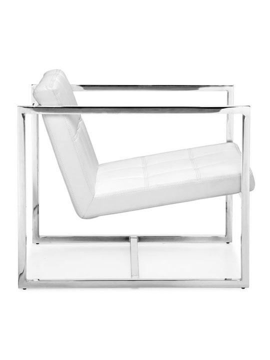 White Leather Luxe Lounge Chair 3