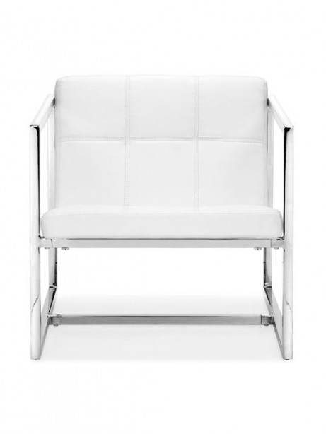 White Leather Luxe Lounge Chair 461x614