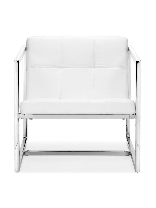White Leather Luxe Lounge Chair