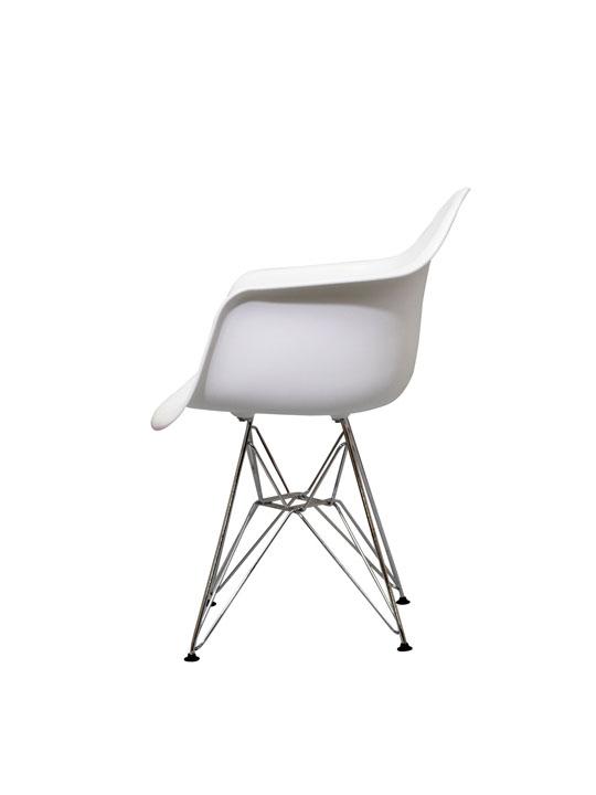 Wire Chrome Chair White 1