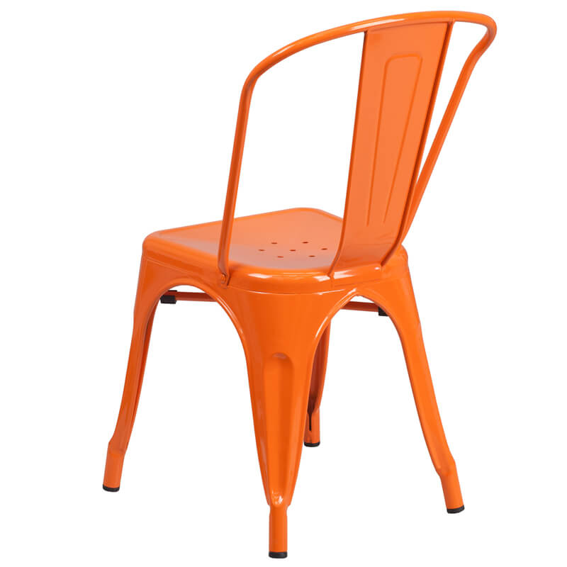 cafe metal chair orange